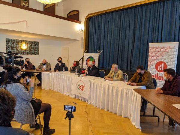 A Civil Választási Bizottság megalakulását bejelentő sajtótájékoztató résztvevői